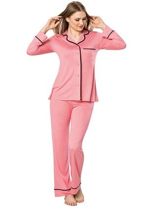 Fuchsia - Shawl Collar -  - Viscose - Pyjama Set