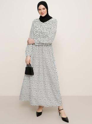 White - Black - Floral - Unlined - Crew neck - Viscose - Plus Size Dress
