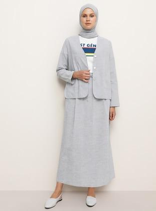 Navy Blue - Stripe - Unlined - Shawl Collar -  - Jacket