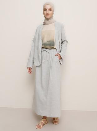 Beige - Stripe - Unlined - - Skirt