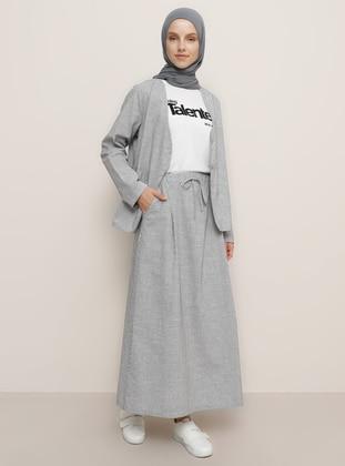 Black - Stripe - Unlined -  - Skirt