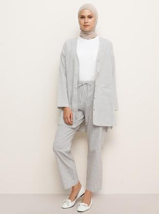 Beige - Stripe - Unlined - Shawl Collar -  - Topcoat