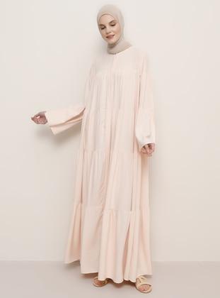 Salmon - Crew neck - Unlined - Viscose - Dress
