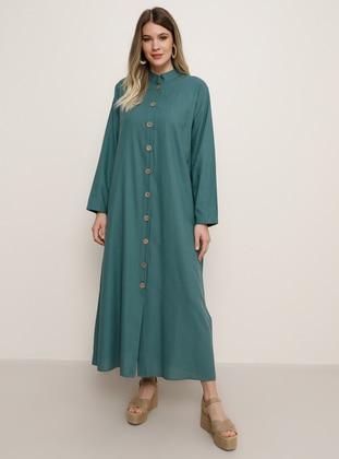 Green - Hac ve Umre - Unlined - Crew neck - Cotton - Plus Size Dress