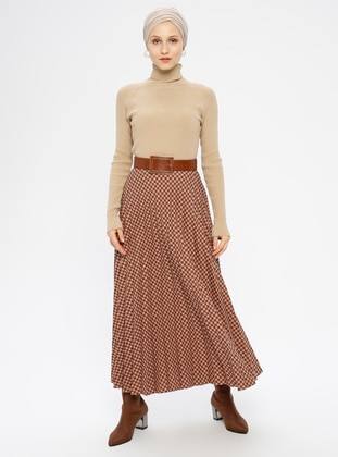 Camel - Houndstooth - Fully Lined - Viscose - Skirt