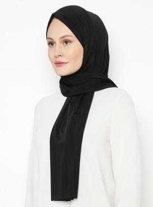 Black - Plain - Combed Cotton - Shawl