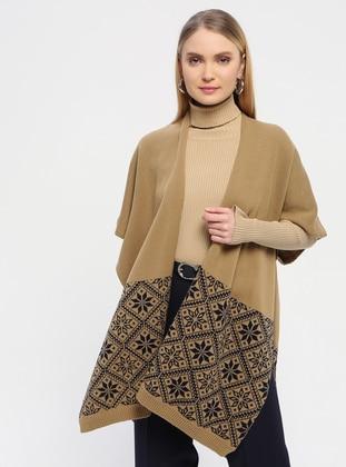 - Camel - Printed - Shawl Wrap - Özsoy
