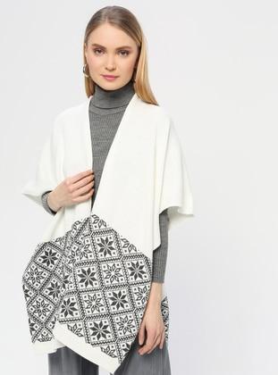 - White - Ecru - Printed - Shawl Wrap