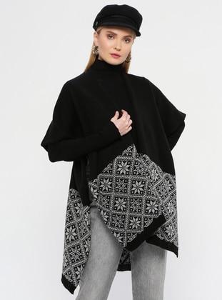 - Black - Printed - Shawl Wrap - Özsoy