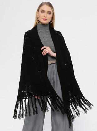 Acrylic -  - Black - Plain - Shawl Wrap
