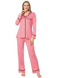 Fuchsia - Shawl Collar -  - Viscose - Pyjama Set