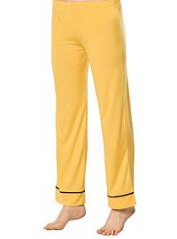 Yellow - Shawl Collar -  - Viscose - Pyjama Set