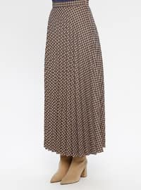 Navy Blue - Houndstooth - Fully Lined - Viscose - Skirt