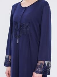 Navy Blue - Crew neck -  - Viscose - Nightdress