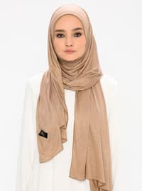 Beige - Plain -  - Shawl