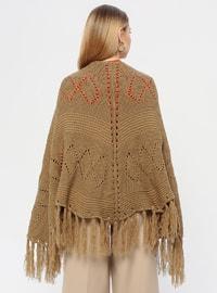 Acrylic -  - Camel - Plain - Shawl Wrap