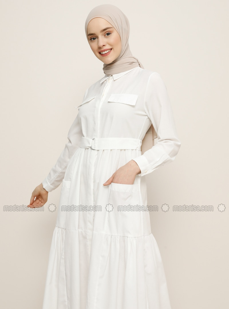 Point Collar - Unlined - Cotton - Dress