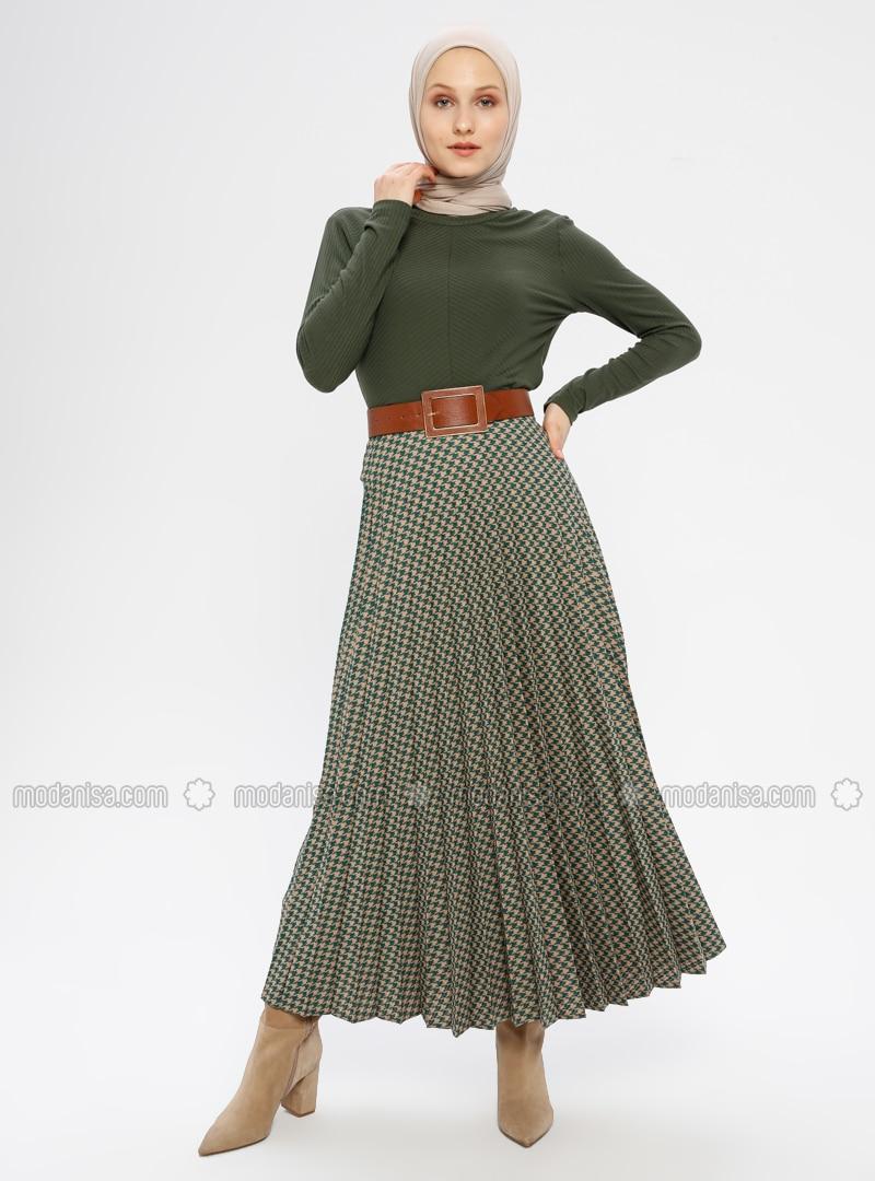 Khaki - Houndstooth - Fully Lined - Viscose - Skirt