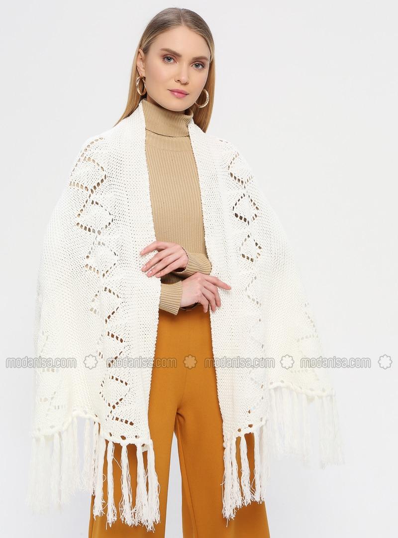 Acrylic -  - White - Ecru - Plain - Shawl Wrap