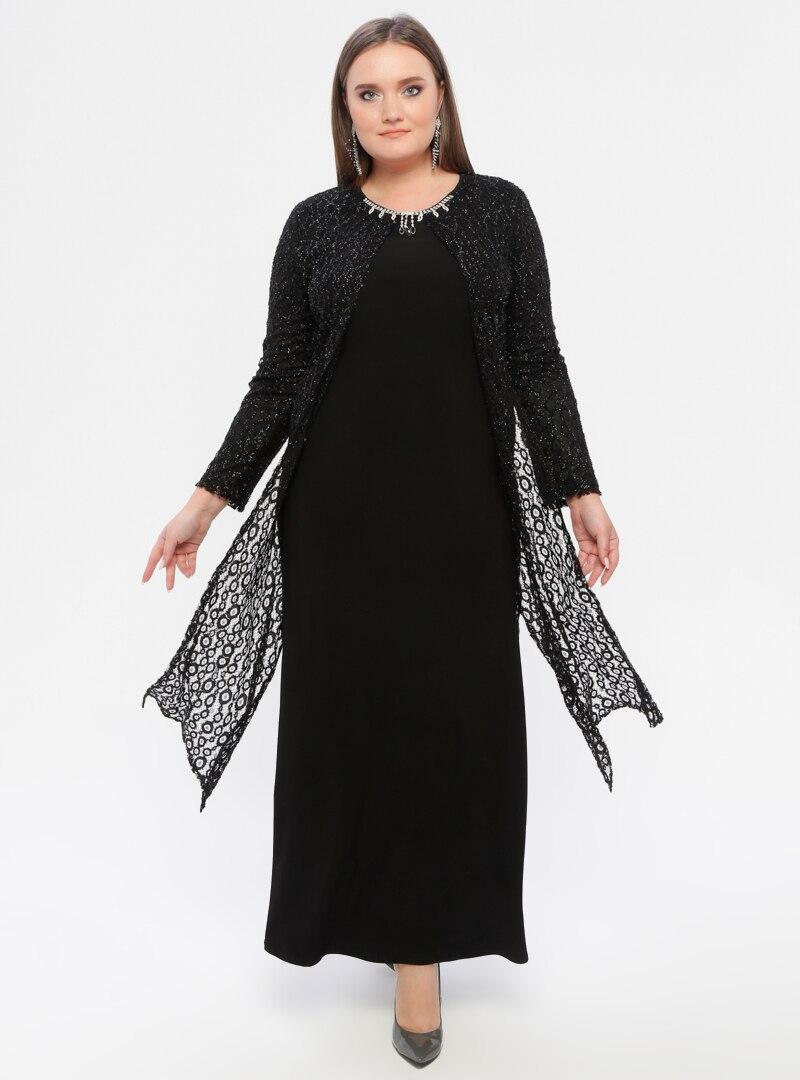 Tesettür Büyük Beden Abiye Elbise Atay Gökmen Siyah Kadın 56