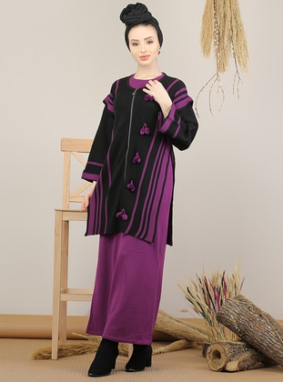 Purple - Black - Unlined - Acrylic -  - Knit Suits
