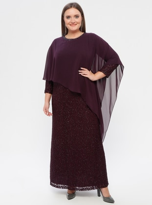 Plum - Fully Lined - Crew neck - Plus Size Dress