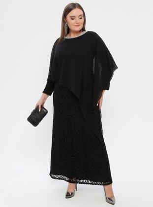 Black - Fully Lined - Crew neck - Plus Size Dress - Atay Gökmen