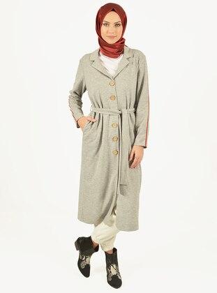 White - Gray - Unlined - Shawl Collar - Viscose - Jacket