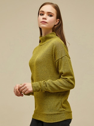 Yellow - Black - Stripe - Polo neck -  -  - Blouses