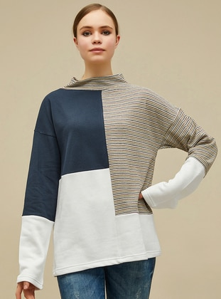 Ecru - Blue - Polo neck -  - Blouses