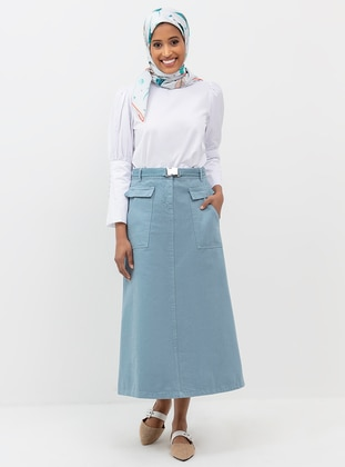 Blue - Unlined - Denim -  - Skirt
