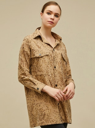 Brown - Yellow - Multi - Point Collar -  - Blouses