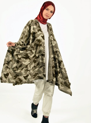 Green - Crew neck - Unlined -  - Poncho