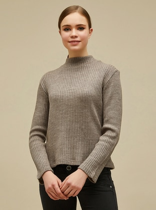 Brown - Polo neck -  - Blouses