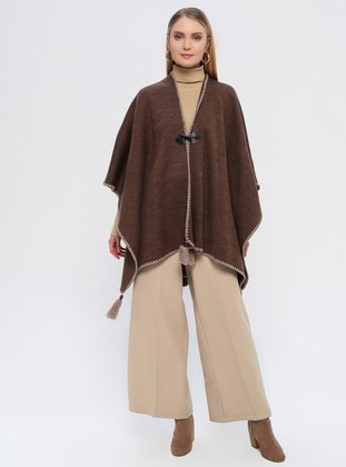 Brown - Unlined - Acrylic -  - Poncho