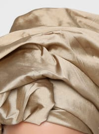 Gold - Plain - Viscose - Instant Scarf