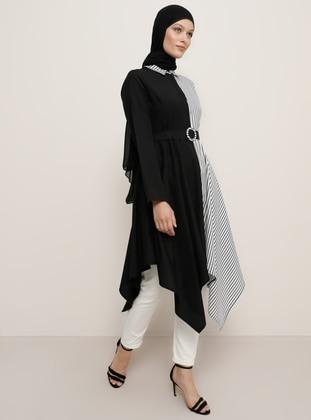 Multi - Black - Stripe - Point Collar - Tunic