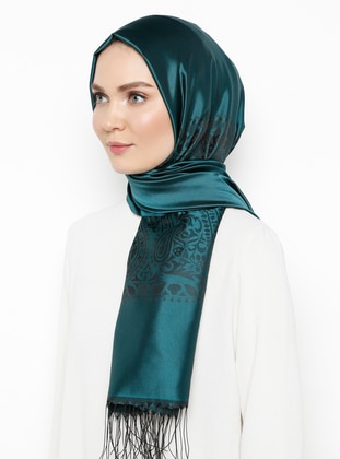 Green - Plain - Jacquard - Viscose - Shawl