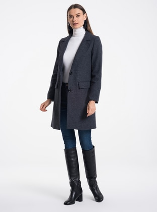Gray - Fully Lined - V neck Collar - Acrylic -  - Wool Blend - Coat