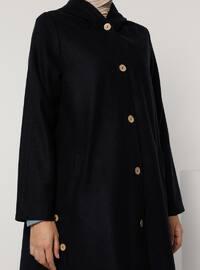 Navy Blue - Navy Blue - Unlined - V neck Collar - Acrylic - - Coat