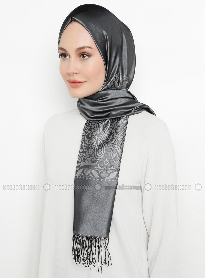 Smoke - Printed - Fringe - Viscose - Shawl