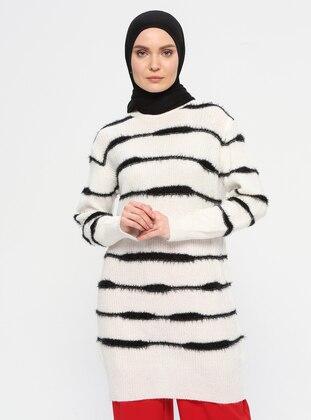 Ecru - Stripe - Polo neck - Acrylic - Wool Blend - Tunic