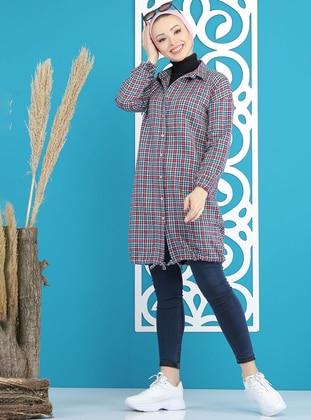 Fuchsia - Blue - Point Collar -  - Tunic