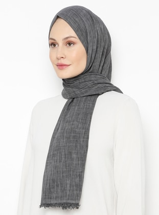 Anthracite - Plain - Linen -  - Shawl