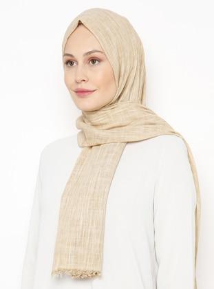 Cream - Plain - Linen -  - Shawl