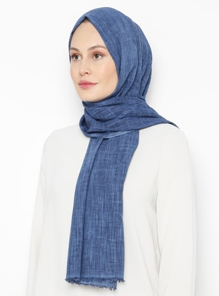 Navy Blue - Plain - Linen -  - Shawl