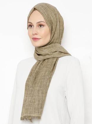 Green - Plain - Linen -  - Shawl