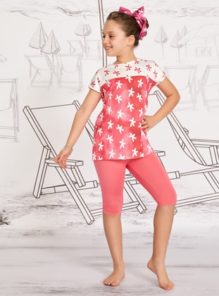 Multi - Crew neck - Pink - Girls` Swimsuit - Mayovera