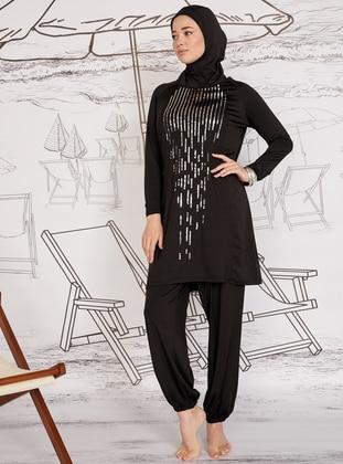 Black - Shawl - Fully Lined - Plus Size Swimsuit