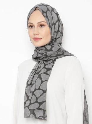 Gray - Printed - Plain -  - Shawl